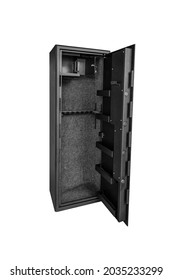 A metal gun safe. Safe storage for weapons. Isolate on a white background.