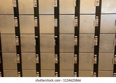 Metal gym lockers, full frame