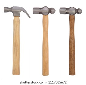 Metal Hammers with wooden handle Isolated on White Background with clipping Path