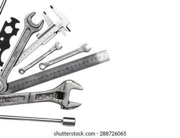 Metal hand keys isolated on a white background - stock photo.
