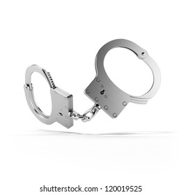Metal Handcuffs  isolated on white background