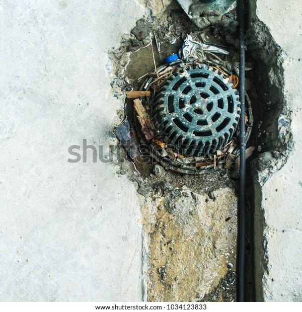Metal Head Roof Drain Cleaning Rain Stock Photo (Edit Now