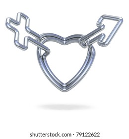 Metal Heart jointed, Creation of male and female symbols.