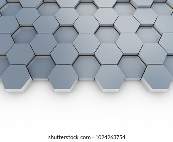 Metal hexagon pattern on white background. 3d render