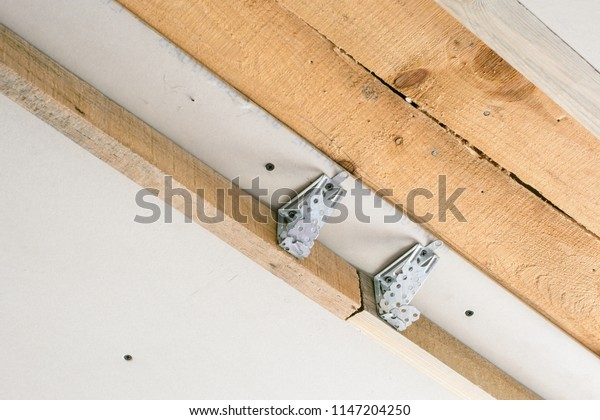 Metal Holder Wooden Frame Modern Suspended Stock Photo Edit