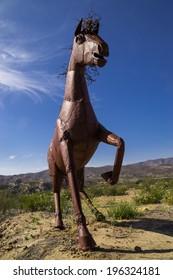The metal horse on the California desert hilltop near Temecula, California.