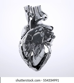 Metal human heart isolated on white background, 3d illustration