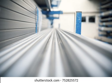 metal inox pipe on stack, close up