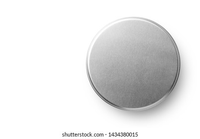 Metal jar container isolated on white background. Container for tea, spices, cosmetic or food. Top view.