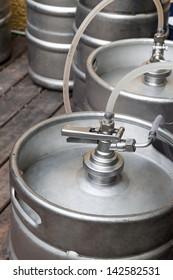 Metal kegs of beer to the pipeline