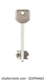 Metal key isolated on white background