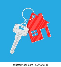 Metal key with keychain house in flat style. illustration
