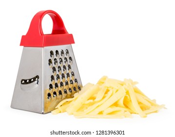 Metal kitchen grater close up on a white background. Isolated.