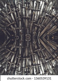 Metal knight swords background. Close up