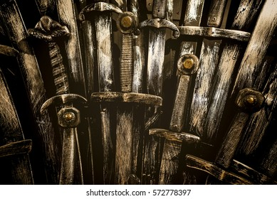 Metal knight swords background. Close up. The concept Knights.