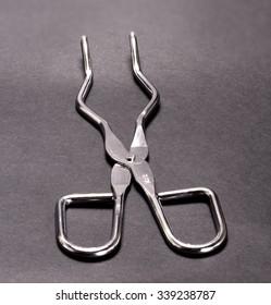metal laboratory scissors against