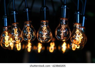 Metal lamp with bulbs close up