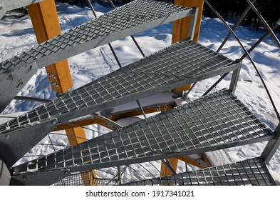 metal lattice grate is used for the outdoor spiral staircase. The galvanized grate is transparent, and often makes people dizzy. Falling down the stairs is dangerous. leather hiking boots