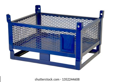 Metal lattice transportation box in blue color isolated on white with clipping path.