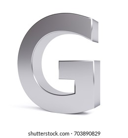 Metal letter G. Collection. 3d image