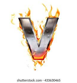 Metal letter on fire. 3D illustration.