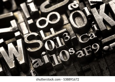 Metal Letterpress Types.  Historical letterpress types, also called as lead letters. These kind of letters were used in Gutenberg presses. These letters were the beginning of typography