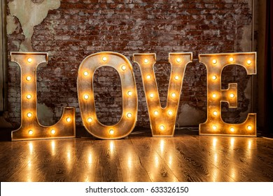 Metal letters with small lamps, love sign lighting with bulb lights