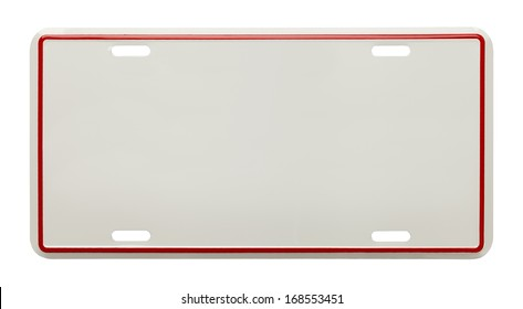 Metal License Plate With Copy Space Isolated on White Background.