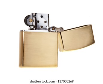 Metal lighter isolated on white background, gold color
