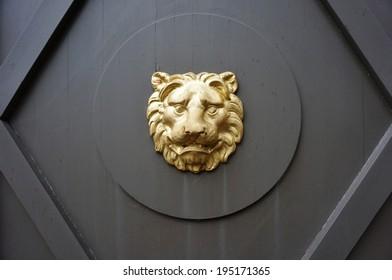 Metal lion head on door