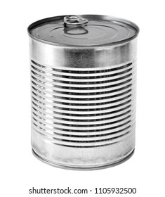 Metal lit or aluminum can, isolated on white background. Closed metal can, silver lit, conserved food.
