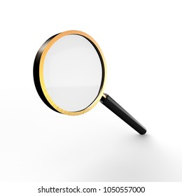 Metal magnifying glass isolated on white background. 3d illustration