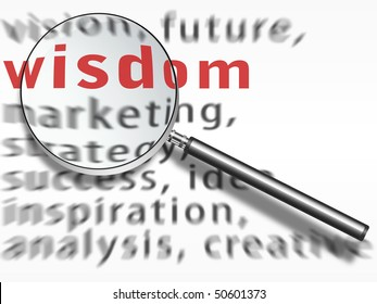 metal magnifying glass (lupe) over a wisdom text on a white sheet