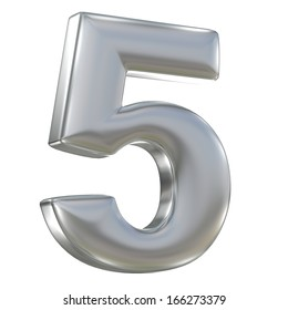 Metal matte number from aluminum solid alphabet isolated on white