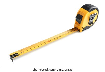 Metal measuring tape on white background. Construction tool