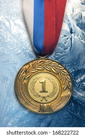 Metal medal on frozen background