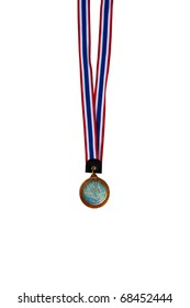Metal medal over white background