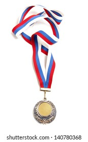 Metal medal with tricolor ribbon isolated on white background