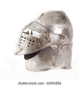 Metal medieval helmet  Isolated on white