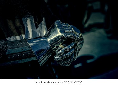 Metal medieval knight glove, protective detail for a gentleman
