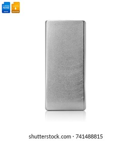 Metal mold isolated on white background. Steel template for use in phone case design business. Clipping paths object.