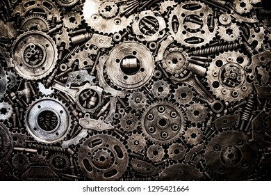 Metal motor engine and car used spare parts background.