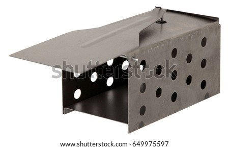 Metal mousetrap isolated on white background