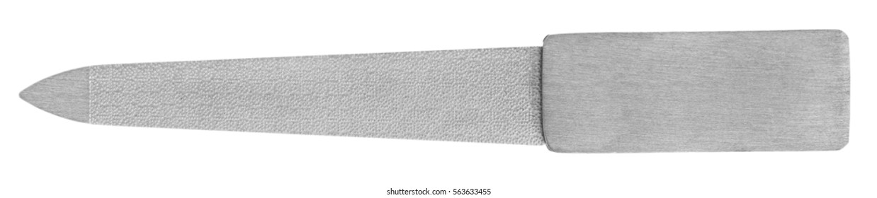 metal nail file closeup on isolated white background