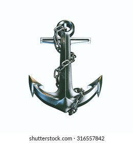 Metal Nautical Anchor  isolated on white