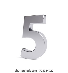 Metal number 5, isolated on white. Collection. 3d image