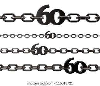 metal number sixty in chains on white background - 3d illustration