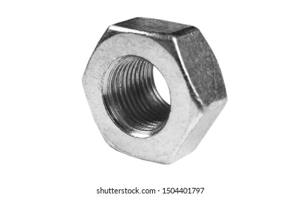 Metal nut isolated on white background. Chromed screw nut isolated. Steel nut isolated. Tools for work.