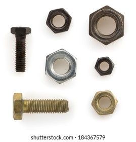 metal nuts,bolts and screw  tool isolated on white background