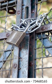 Metal padlock and chain on metal gate.